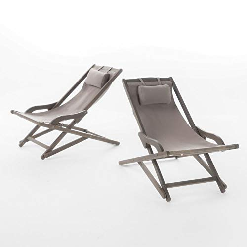 Christopher Knight Home Nikki Outdoor Wood and Canvas Sling Chairs, 2-Pcs Set, Grey