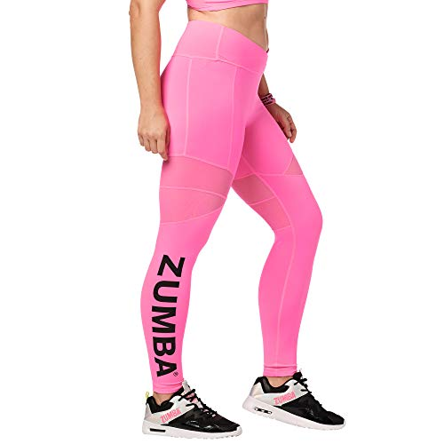 Zumba - Leggings da Danza da Donna, alla Moda, con Pannelli in Rete Traspirante, Colore: Rosa Brillante, M