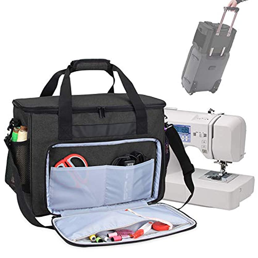 Teamoy Sewing Machine Bag, Travel Tote Bag for Most Standard Sewing Machines and Accessories, Black bmmm23913