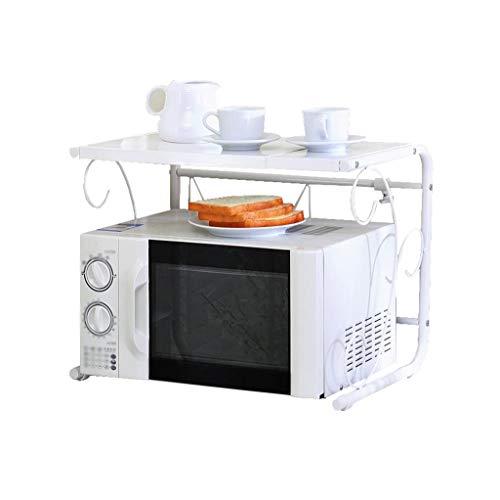 HYYDP Estante de cocina ajustable extensible Estante de horno de microondas Almacenamiento de 2 niveles blanco Organizador de acero inoxidable montado en el piso (40-60 cm) Estantes y soportes para ol