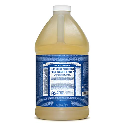 Dr. Bronner's - Pure-Castile Liquid Soap (Peppermint, 64 ounce) - Made with Organic Oils, 18-in-1 Uses: Face, Body, Hair, Laundry, Pets and Dishes, Concentrated, Vegan, Non-GMO