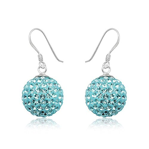 14MM Disco Ball Sterling Silver Dangly Drop Hook Earrings - BLUE AQUAMARINE or Choose From 31 Colours