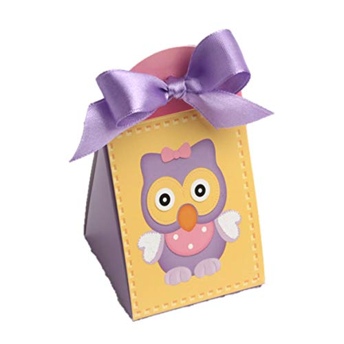 D&Y Ballotins à dragées - boites à dragées Forme Iris thème Petit Hibou ou Chouette Lilas x10 sans Ruban