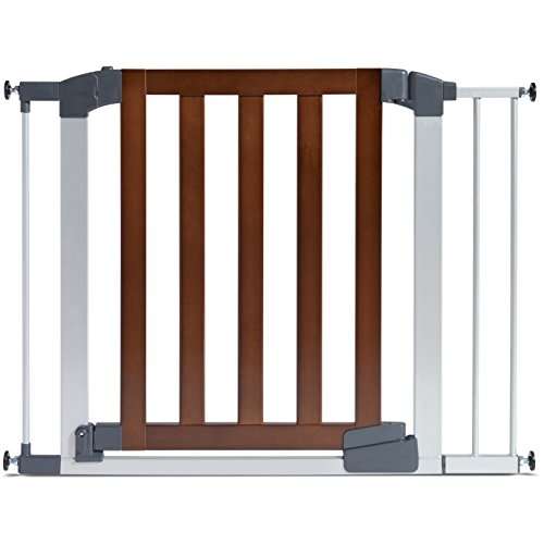 Munchkin Auto Close Modern Pressure Mounted Baby Gate for Stairs, Hallways and Doors, Walk Through with Door, Dark Wood and Silver Metal