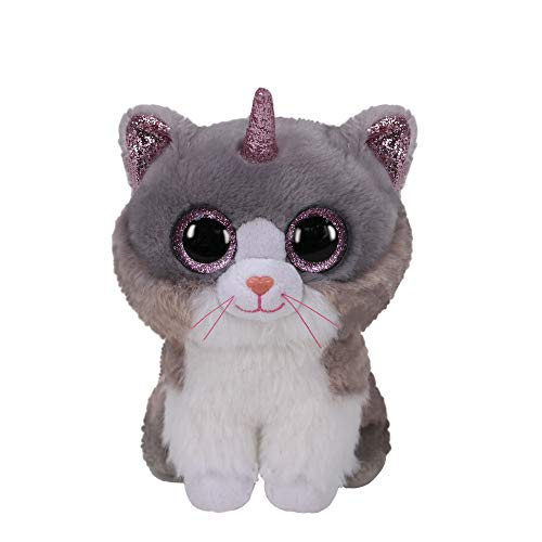 Claire's Official Ty Beanie Boo Asher The Cat with Horn Soft Plush Toy for Girls, Gray and White, Small, 6 Inches