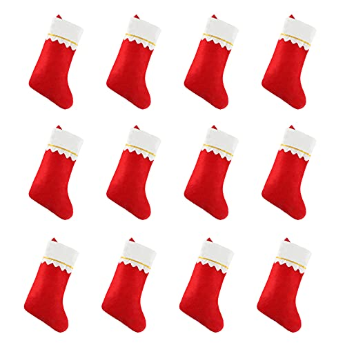 15' Red Felt Christmas Stockings set, Xmas Stockings Gift Card Bags Holders, Christmas Tree Decorations Xmas Party Ornament (12 Pack)