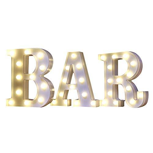 Mystery&Melody LED BAR letra decorativa lámpara luz LED alfabeto blanco sólido letras para fiesta boda decoración luz (BAR)