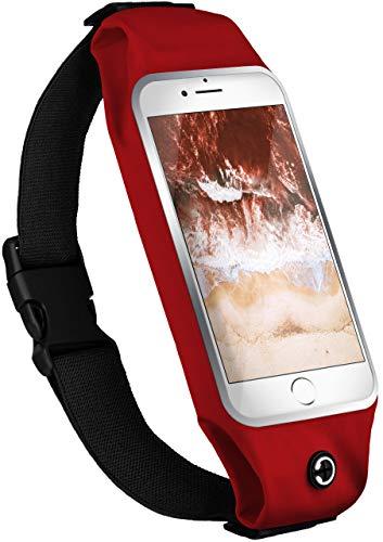 moex Handy Laufgürtel kompatibel mit ZTE Axon 11   Handytasche Sport Gürtel Joggen Lauftasche frei verstellbar mit Sichtfenster - Fitness Laufen, Rot