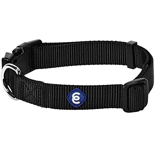 Blueberry Pet Essentials Classic Durable Solid Nylon Adjustable Dog Collar, Black, Medium, Neck 14.5'-20', for Boy and Girl Dogs