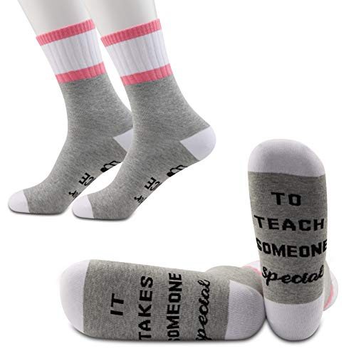 JXGZSO 2 Pairs Teacher Socks Gift for SPED Teacher - It Takes Someone Special to Teach Socks (Teach Someone Special)