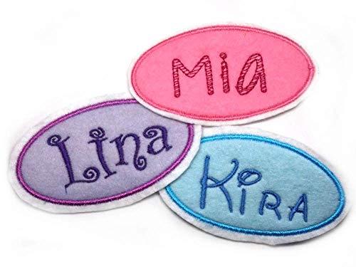 Namensschild gestickt Applikation Aufnäher Bügelbild für Kinder Name Wunschname Farbwahl Aufbügler Monogramm