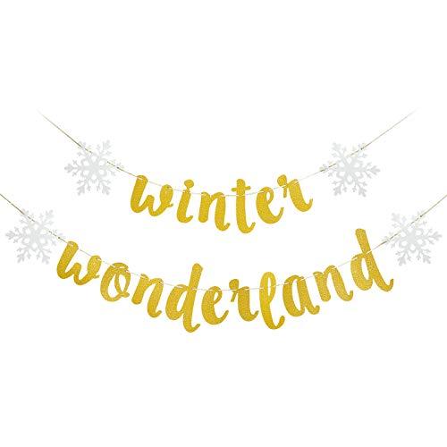 Winter Wonderland Garland Decorartons - Gold Glittery Winter Wonderland Snowflake Banner Decorations, Winter Wonderland Snow Frozen Christmas Themed Birthday Party Decorations Supplies