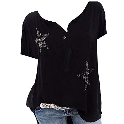 MRULIC Damen Button-down T-Shirt Kurzarm Fünf Blitzige Stern Bluse Hemd Oversize Tops Sweatshirt Sportshirt Oberteile