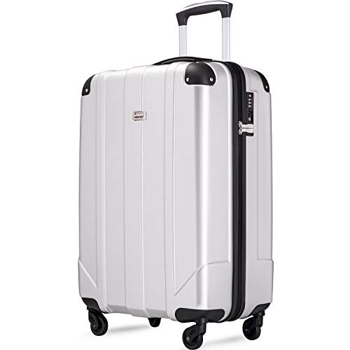 """Merax Hardside Spinner Luggage with Built-in TSA and Reinforced Corners, Eco-friendly P.E.T Light Weight Carry-On 20"""" 24"""" 28"""" Suitcases (20 inch, Silver)"""