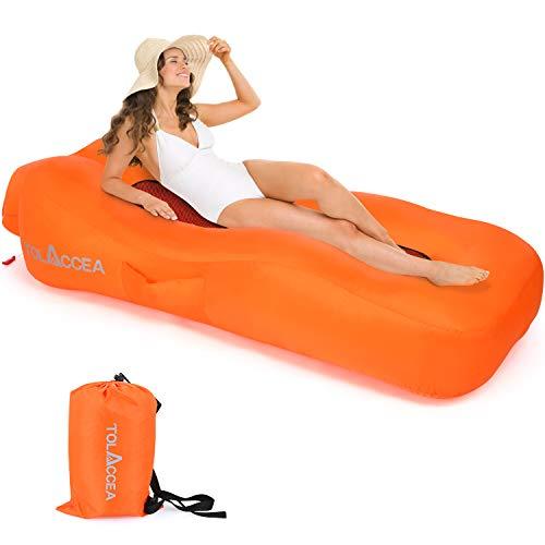 Tolaccea - Materassino gonfiabile portatile, con sacchetto per il trasporto, ideale per campeggio, spiaggia, attività all'aperto
