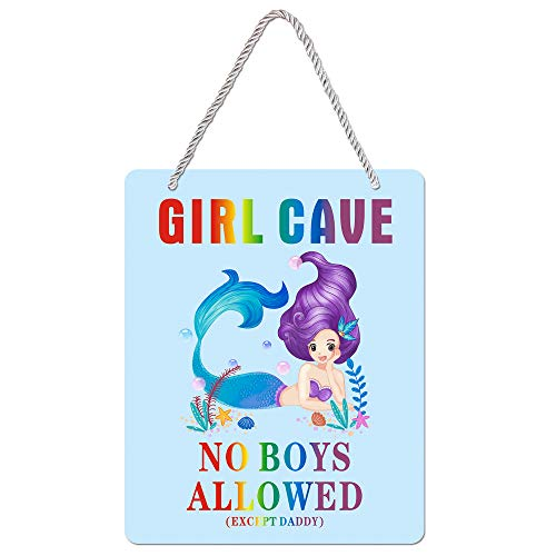 Uflashmi Girl Bedroom Decor Girl Cave Sign No Boys Allowed Except Dad Sign, Little Baby Girl Room Decor, 8X10 Inch, Mermaid