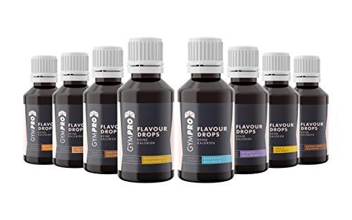 GymPro - Flavour Drops 50ml (8er Packung) - Liquid Aroma Tropfen ohne Kalorien - vegan für Quark, Jogurt, Porridge, Backen - Süßungsmittel mit Geschmack