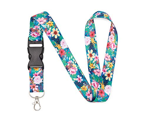 Floral Neck Lanyard with Metal Clasp - Office, School, Home - Id Badge, Keys, Card, Security Pass, USB, and Lightweight Accessories - Premium Quality, Pretty, Fashionable (Tropical Mixed Flower)