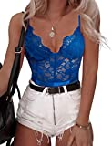 Women's Sexy Eyelash Lace Bodysuit Naughty Teddy Lingerie (Blue, M)