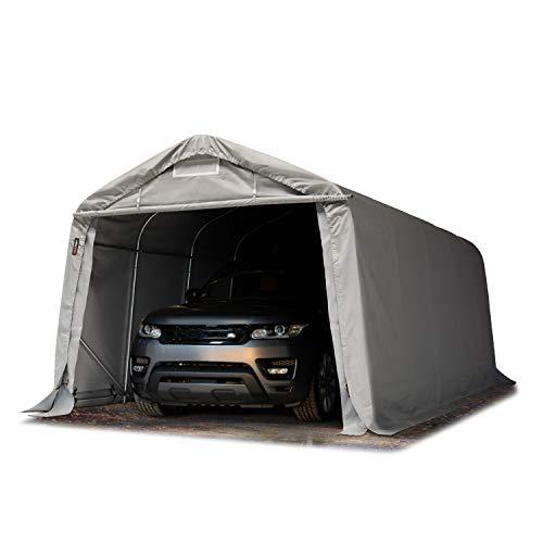 TOOLPORT Garagenzelt Carport 3,3 x 6,0 m in grau Weidezelt Unterstand Lagerzelt mit 550 g/m² PVC Plane und Stabiler Stahlrohrkonstruktion