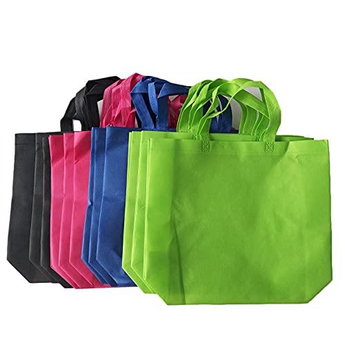Hosh 12 Piezas Bolsas no Tejidas, Bolsas de Compras Grandes, Bolsa de Compras Reutilizable Ecológica, Bolsas de Compras no Tejidas, para Almacenar Artículos (4 Colores)