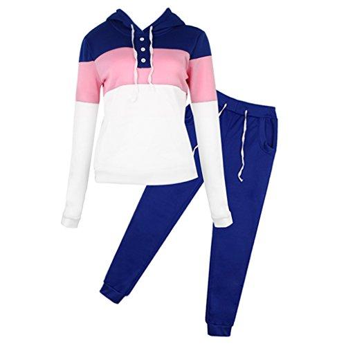 Geneic - Tuta casual da donna, con cappuccio, felpa, pantaloni sportivi
