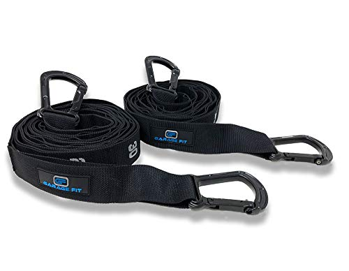 Garage Fit Quick Adjust Straps with Carabiners for Gymnastic Rings Perfect for Exercise, Cross Fit Training, Gymnastics, Bodyweight Training