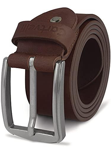 Cartvelli Herren Ledergürtel Braun 100cm Made in Germany - 40mm Echt-Leder Gürtel Schnalle Silber Herrengürtel Vollleder Jeansgürtel BS19b-100