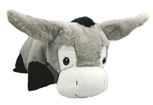 Inware 7149 - Schmusekissen Esel, grau, 35 x 25 cm, Kuschelkissen mit Klettverschluss, Babykissen, Kinderkissen