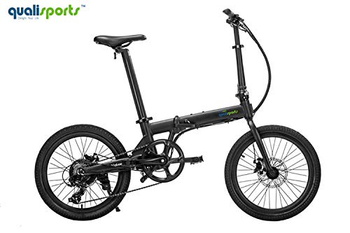 Qualisports Electric Ebike Volador 20' Folding Bicycle Approved UL2849, 36V/7Ah Battery, 350W Hub Motor, 20MPH Max Speed, 25+Miles Range, 7 Speed Shifter Adults Bike(Black)