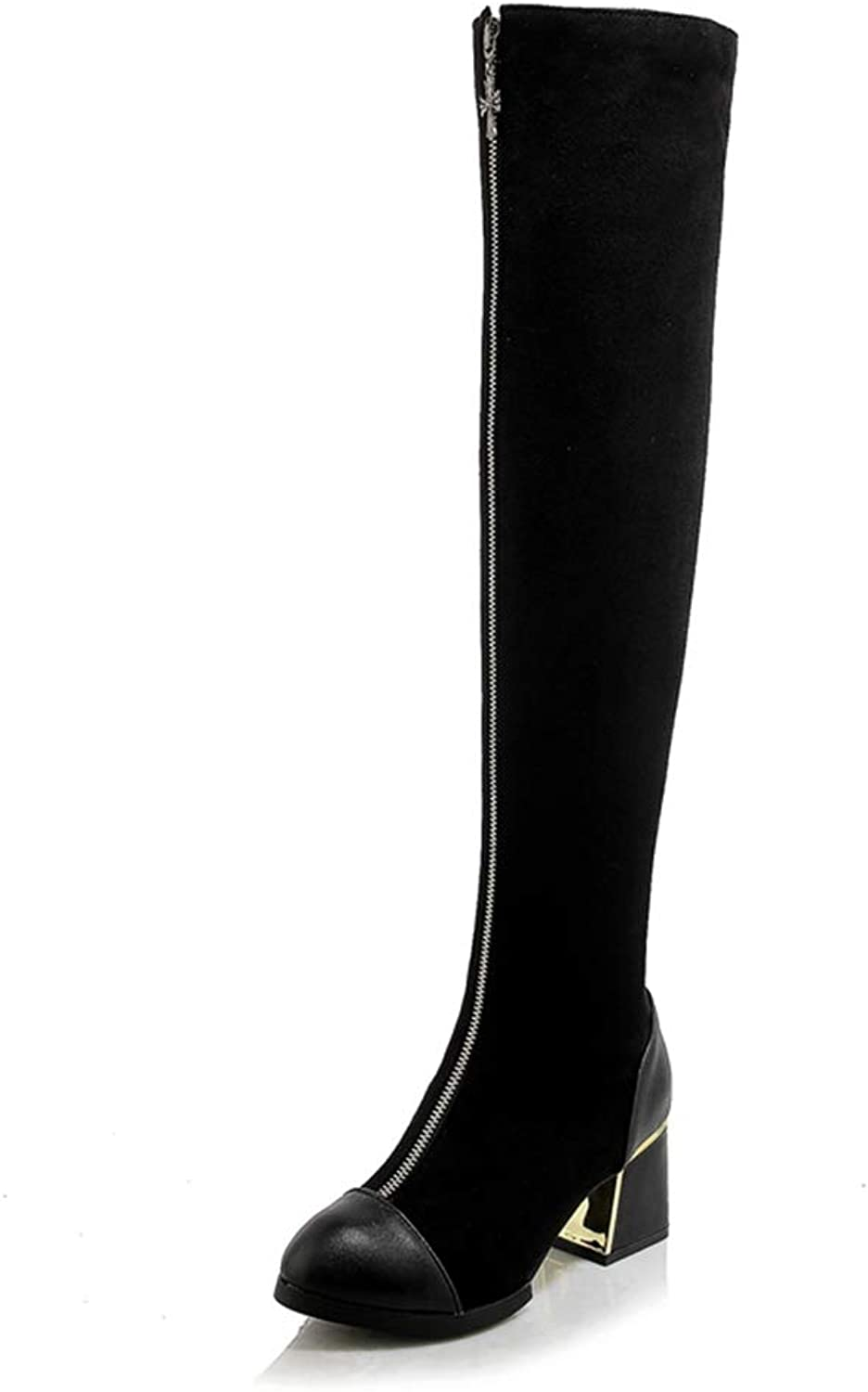 T-JULY Women Round Toe Knee-high Boots Lady Winter Casual Motorcycle Zipper Martin High Heel Boots