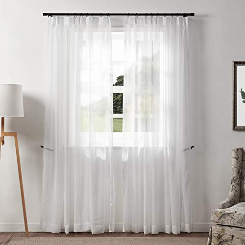 DotheDrape White Sheer Curtains Window Treatment Pinch Pleated Voile Curtain Panels for Kitchen, Bedroom and Living Room (50 x 84 inches Long, 1 Panel)