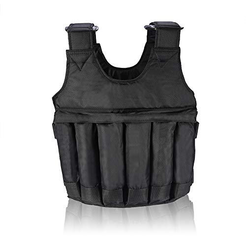 Weighted Vest - 110LB 50KG Adjustable Workout Weighted Vest Exercise Strength Training Fitness for Men/Women Black