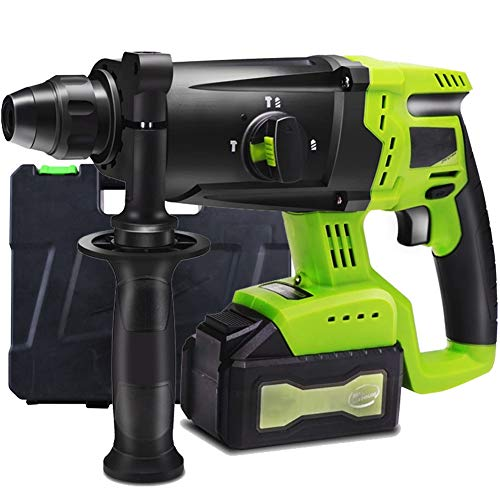 Power Drill, 21V Rotary Hammer Drill 4500BPM with 360° Auxiliary Handle SDS Chuck Carrying Case 6000mAh Multifunction Compact Cordless Driver, for Concrete and Stone,1 Battery