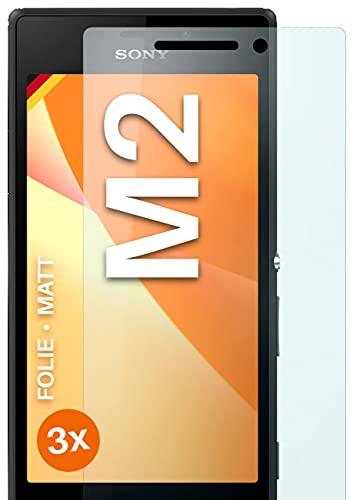 moex Schutzfolie matt kompatibel mit Sony Xperia M2 - Folie gegen Reflexionen, Anti Reflex Bildschirmschutz, Matte Bildschirmfolie - 3X Stück