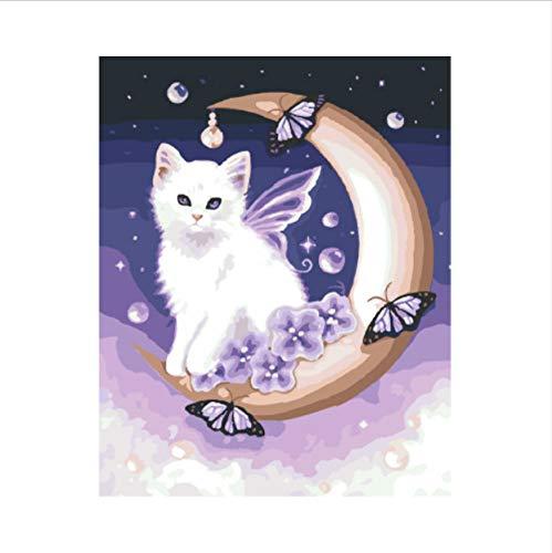 Puzzle 1000 Piezas Puzzle 3D Moonlight Angel Cat The Unique Gift For Livingroom Decoración Para El Hogar Arte De Pared 75X50Cm