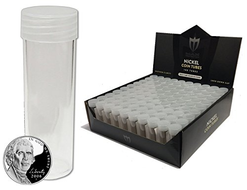 (10) Individual NEW Round Ultra Clear PREMIUM Plastic NICKEL Coin Tubes with Screw On Caps by Max Pro Coin Supplies