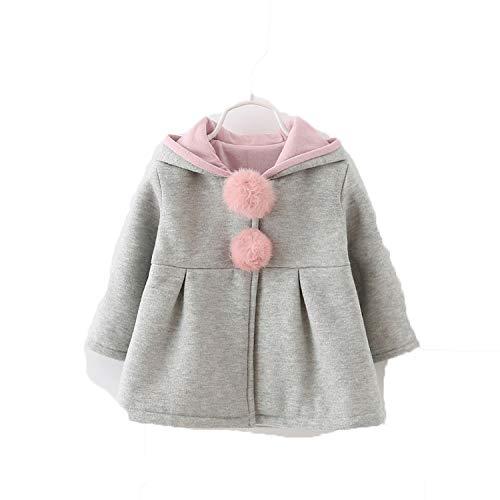 OneCherry - Chaqueta para bebé con capucha y capucha para chicas gris 24 Meses