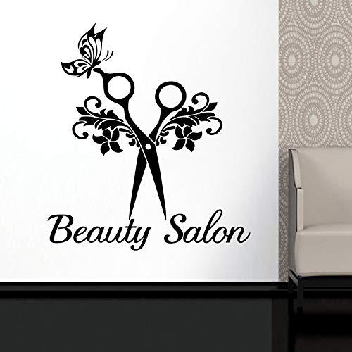 Schmetterling Schere Haar Beauty Salon Aufkleber Unisex Haarschnitt Vinyl Kunst Aufkleber Fenster Dekoration 58 * 65 cm