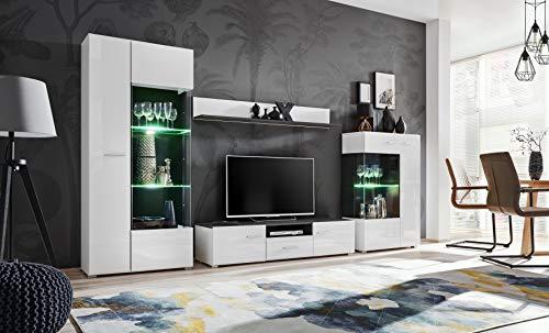 KRYSPOL Wohnwand SOLIDO Anbauwand, Wohnzimmer-Set, Modern Design (Norwegische Kiefer Schwarz/Weiß Glanz)