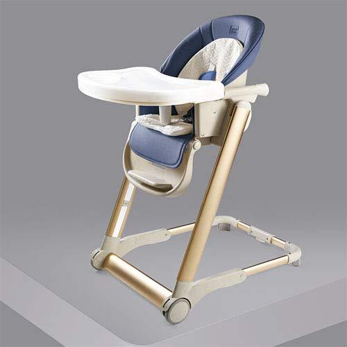 HYRL 6-In-1 Hochstuhl Treasure Dining Stuhl Kind Faltbare Tragbare Sitz Baby-Multifunktions-Zickzack Höhenverstellbar,Calmblue