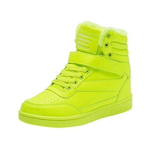 Botas de Mujer con Cordones, Color Sólido Sneakers Cabeza Redonda Zapatillas de Deporte Velcro Zapatos Casuales Zapatos Altos Zapatillas de Correr 35-40