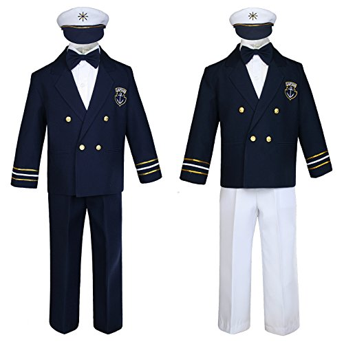 Unotux Baby Boy Kids Toddler Captain Sailor Suit Formal Party Nautical Navy White SM-12