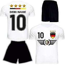 DE FANSHOP Deutschland Trikot mit Hose & GRATIS Wunschname + Nummer EM WM Weiss #D6 2021 2022 - Geschenk für Kinder Erw. Jungen Baby Fußball T-Shirt personalisiert