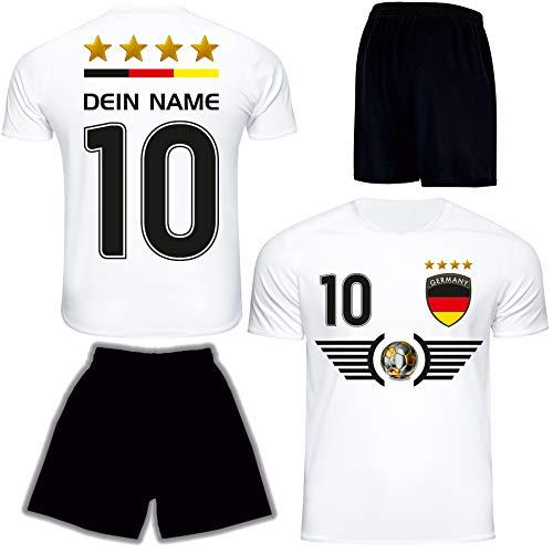 Deutschland Trikot Set 2021 mit Hose GRATIS Wunschname + Nummer im EM WM Weiss Typ #DE5th - Geschenke für Kinder Erw. Jungen Baby Fußball T-Shirt Bedrucken