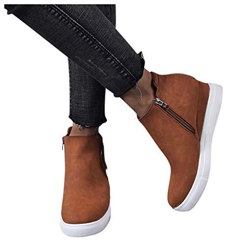 YiYLunneo Women's Platform Sneakers Ladies Hidden Wedges Heel Suede High Top Side Zipper Ankle Booties Short Boots Shoes Brown