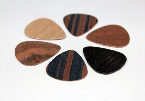6 wooden picks : plectre en bois, 6 plectres en bois véritable,...