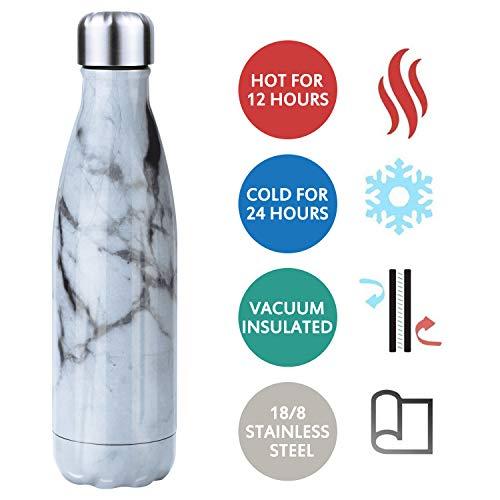 Waflyer Vakuum Isolierte Edelstahl Trinkflasche, Marmor Thermosflasche 500ml Muster Wasserflasche Auslaufsicher BPA Frei Isolierflasche Sportflasche für Reisen, Fahrrad,Auto,Fitness-Weiß