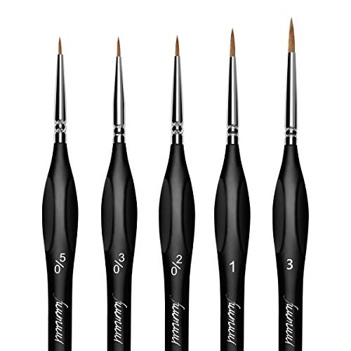 Kolinsky Sable Watercolor Brushes, Fuumuui 5pcs Fine Tip Detail Sable Brushes with Ergonomic Triangular Wooden Handle Perfect for Watercolor Acrylic Gouache Tempera Ink Painting