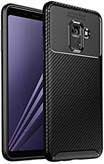 Cover case for Samsung Galaxy J6 Plus auto Focus Carbon Fiber Rugged Soft Phone Case Cover - Black